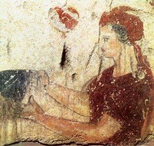022[amolenuvolette.it]340 -320 paestum, poséidonia, tombe ii, détail, profil féminin, fresque