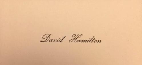Carte De Visite David Hamilton Ici Reproduite Seulement En Partie Annes 1970 Collection Blog Dfense